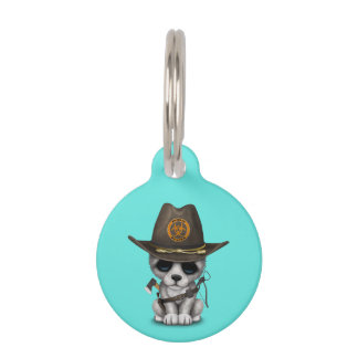 Cute Wolf Cub Zombie Hunter Pet Tag