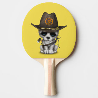 Cute Wolf Cub Zombie Hunter Ping Pong Paddle