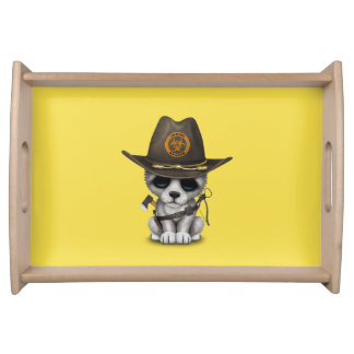 Cute Wolf Cub Zombie Hunter Serving Tray