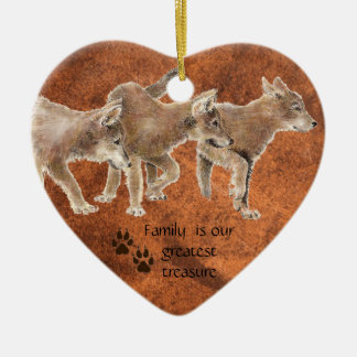Cute Wolf pups - Family is our greatest Treasure Ceramic Heart Ornament