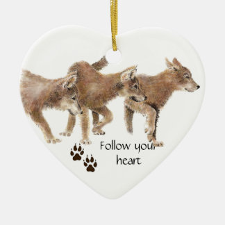 Cute Wolves Follow Your Heart Motivational Quote Ceramic Ornament