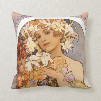 Cute woman with floral wreath throw pillow