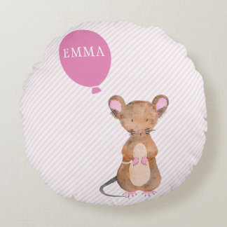 Cute Wood Mouse Personalized Kids Throw Pillow