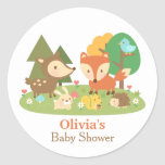 Cute Woodland Animal Baby Shower Party Labels Round Sticker