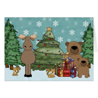 Cute Woodland Animal Christmas Greeting Card