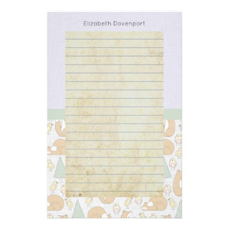 Cute Woodland Animal Creatures with Lined Personalized Stationery