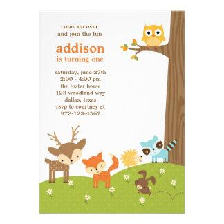 Cute Woodland Animal Invitations Invitations