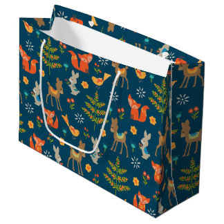 Cute Woodland Animal Pattern Large Gift Bag