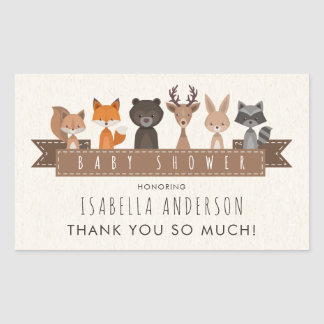 Cute Woodland Animals Baby Shower   Thank You Sticker