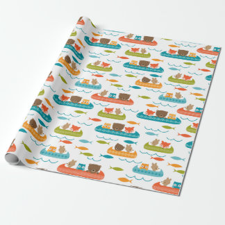 Cute Woodland Animals Canoe Pattern Wrapping Paper