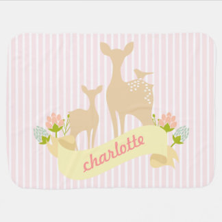 Cute Woodland Animals Fawn & Flowers Personalized Baby Blanket