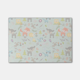 Cute Woodland Animals Illustrated Pattern Post-it® Notes