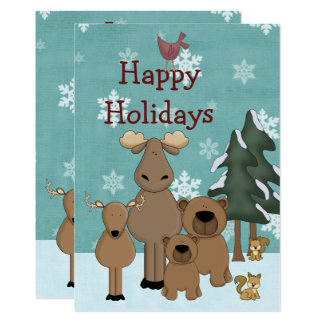 Cute Woodland Animals in Paradise Happy Holidays Card