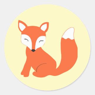 Cute Woodland Baby Fox Round Sticker