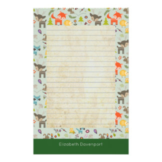 Cute Woodland Creatures Animal Pattern Lined Personalized Stationery