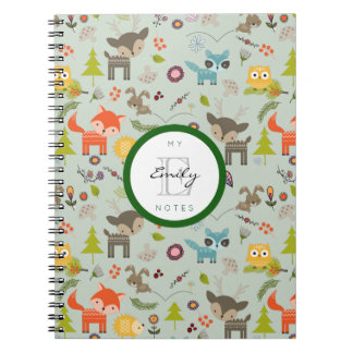 Cute Woodland Creatures Animal Pattern & Monogram Notebooks