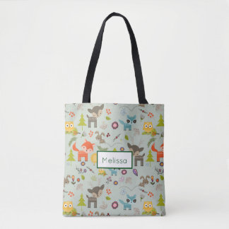 Cute Woodland Creatures Animal Pattern with Name Tote Bag