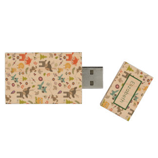 Cute Woodland Creatures Animal Pattern with Name Wood USB 2.0 Flash Drive