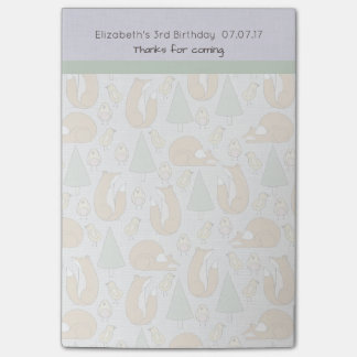 Cute Woodland Creatures Pattern Birthday Thanks Post-it® Notes