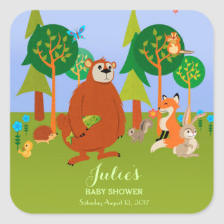 Cute Woodland Critters Square Sticker