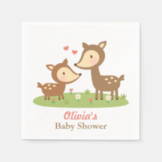 Cute Woodland Deer Baby Shower Party Supplies Paper Napkins