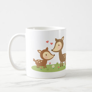 Cute Woodland Deer Mother and Child For Kids Coffee Mug