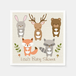 Cute Woodland Forest Animal Personalized Napkins Paper Napkins