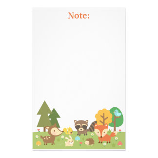 Cute Woodland Forest Animals and Creatures Customized Stationery