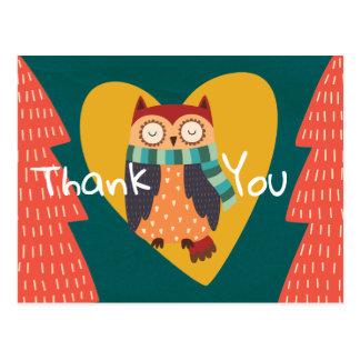 Cute Woodland Forest Winter Animal Owl Postcard