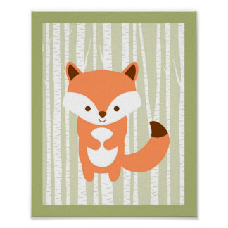 Cute Woodland Fox Birch Tree Nursery Wall Print
