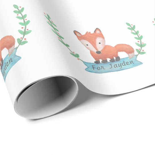 Cute Woodland Fox Kids Personalized Wrapping Paper