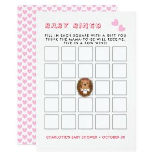 Cute Woodland Hedgehog Baby Girl Shower Bingo Game Card