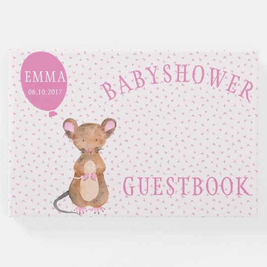 Cute Woodland Mouse Baby Shower Guestbook