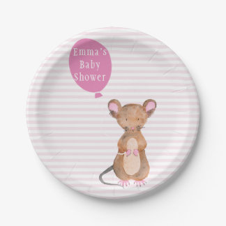 Cute Woodland Mouse | Baby Shower Paper Plates