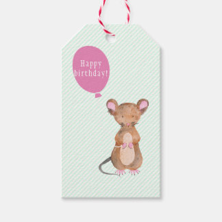 Cute Woodland Mouse Birthday Gift Tags
