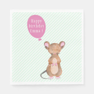 Cute Woodland Mouse Custom Birthday Paper Napkins