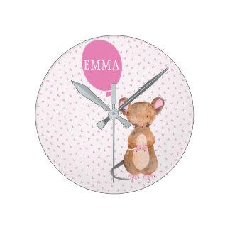 Cute Woodland Mouse Kids / Nursery Wall Clock