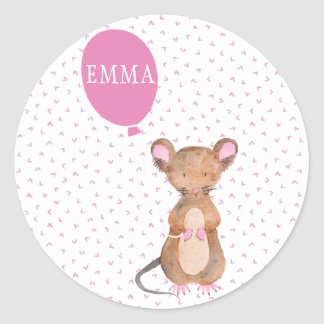 Cute Woodland Mouse Personalized Kids Stickers