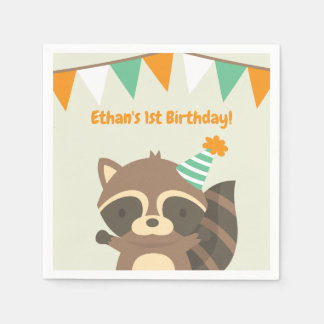 Cute Woodland Raccoon Birthday Party Supplies Paper Napkins