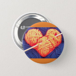 Cute wool heart with knitting needle photograph 2 inch round button