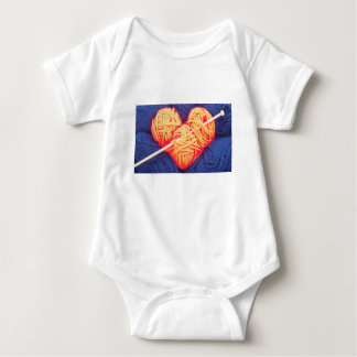 Cute wool heart with knitting needle photograph baby bodysuit