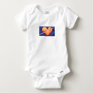 Cute wool heart with knitting needle photograph baby onesie