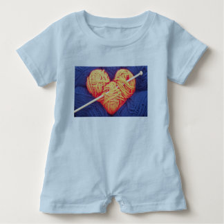 Cute wool heart with knitting needle photograph baby romper