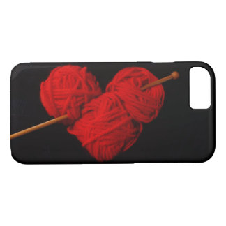 Cute wool heart with knitting needle photograph iPhone 8/7 case