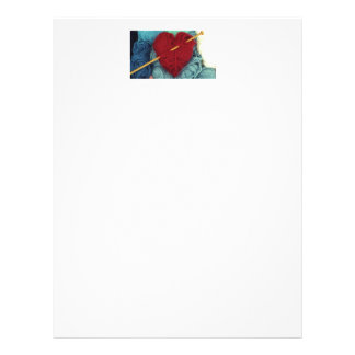 cute wool heart with knitting needle photograph letterhead