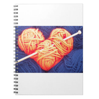 Cute wool heart with knitting needle photograph notebook