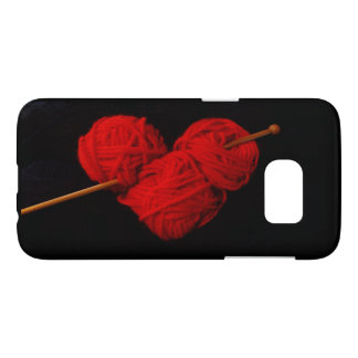 Cute wool heart with knitting needle photograph samsung galaxy s7 case
