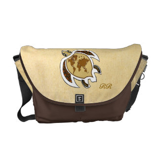 Cute World Map Turtle On Rickshaw Messenger Bag