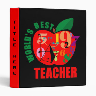 Cute World's Best Teacher Vinyl Binders