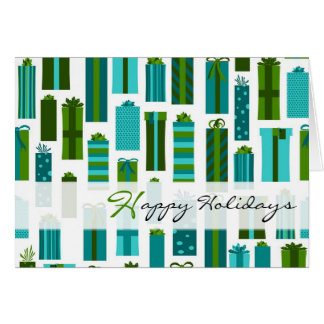 Cute Wrapped Presents Happy Holidays - Green Blue Greeting Card